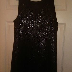 Ladies Navy & Silver Sleeveless Evening Dress